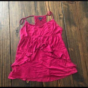American Eagle Ruffle Cami Pink Sz L